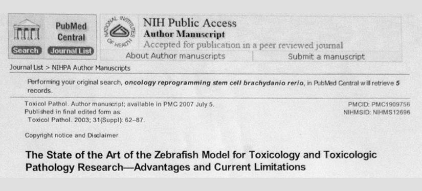 Lo stato dell'arte del modello Zebrafish per la ricerca tossicologica e tossico patologica. Vantaggi – limiti allo stato attuale.
